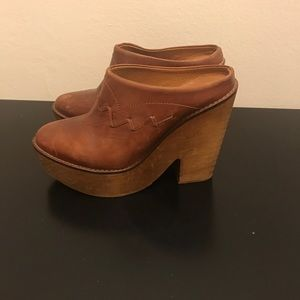 Free People Brown Leather Clogs 38